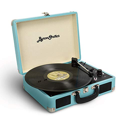 Byron Statics Vinyl Record Player 3 Speed Turntable Record Player with 2 Built in Stereo Speakers, Replacement Needle Supports RCA Line Out AUX in Headphone Jack Portable Vintage Suitcase Teal