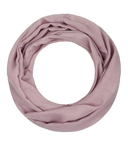 Majea Loop Alice schmaler Damen-Schal Loop Frühlingsschal Schlauchschal Rundschal Tuch uni unisex unifarben einfarbig Halstuch, Mauve, 160x52