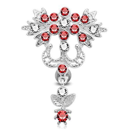 Red Crystal Stein Trendy Blume Reverse Bar Design Sterling Silber Bauch Bars Piercing