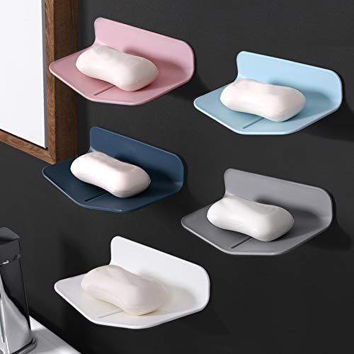 MPEEJ - Jabonera de ducha sin perforaciones para jabón con adhesivo fuerte, jabón autodrenante para ducha, platos de jabón en forma de V para baño