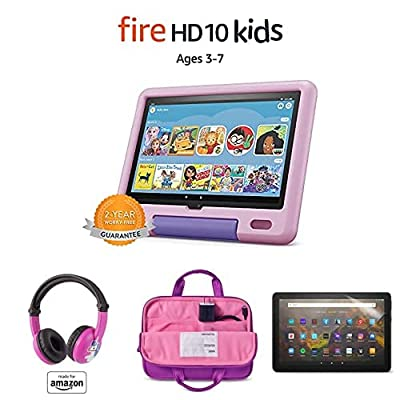 """Fire HD 10 Kids tablet, 10.1"""" Full HD (32GB, Lavender) with Kids Headset + Sleeve + Screen Protector"""