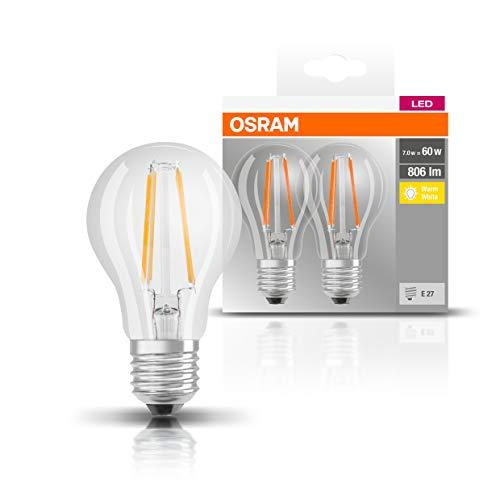 Osram Base Classic Lampada LED E27, Bianco, 7 W 2 unità