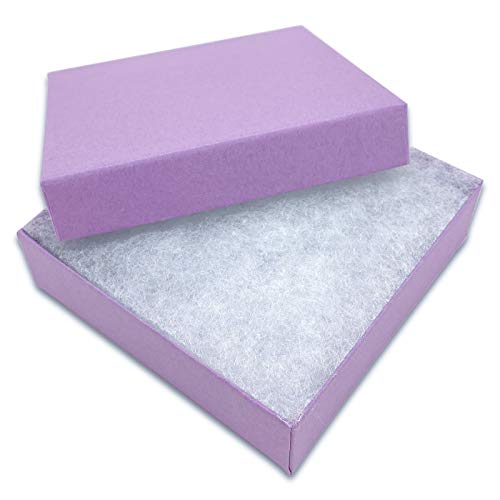 TheDisplayGuys 100-Pack #33 Cotton Filled Cardboard Paper Jewelry Box Gift Case - Purple Lavender (3 1/2' x 3 1/2' x 1')