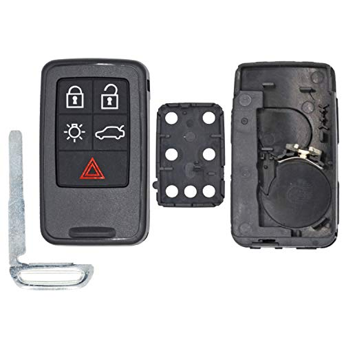 qualitykeylessplus Replacement Case, Button Pad and Uncut Key Blade for Volvo 5 Button Keyless Entry Remotes with FCC ID KR55WK49264