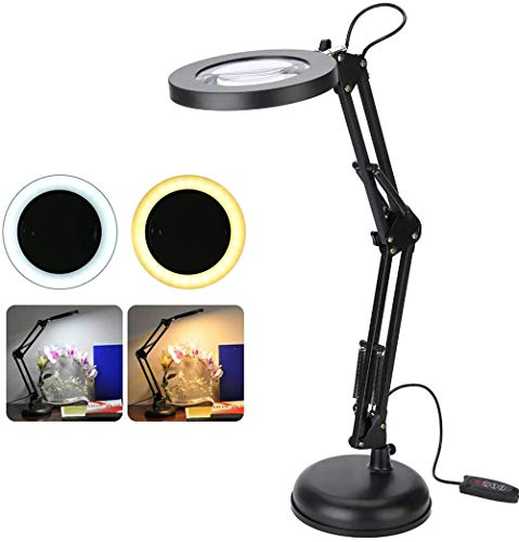 Ecxpol 5X magnifying glass table lamp USB stepless dimming rotatably adjustable reading light work sewing crafts hobbies nail salon manicure cabinet lights eyeliner,Black