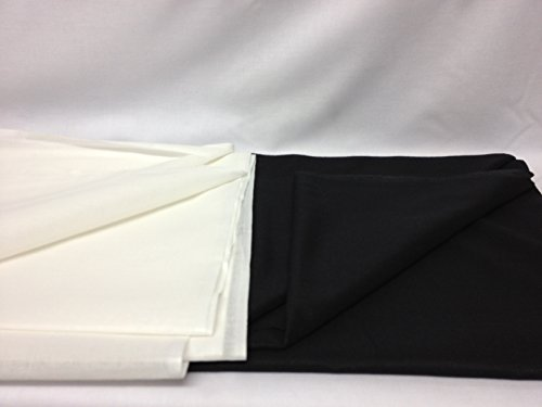 FIM Batist zum Aufbügeln, leichter Baumwollstoff, Stoff zum Aufbügeln, Breite 90cm, 75g/m², meterware, schwarz