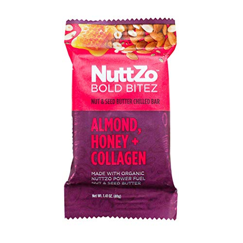 NuttZo Bold BiteZ - Almond, Honey + Collagen Seven Nut & Seed Butter Chilled Protein Snack Bars, 1.41 Ounce (Box of 12)