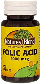 Nature`s Blend Folic Acid 1000mcg Tablets 100 Count (3 Pack)