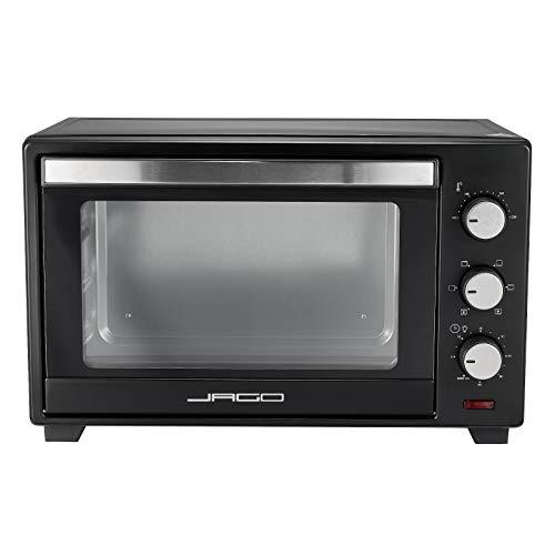 Jago® Minibackofen mit Umluft - Innenbeleuchtung, elektrisch, Doppelglastür, Timer, 100-230 °, 1600W, 30L, 5 Heizarten, 3 Einschubhöhen, Schwarz - Mini Backofen, Mini-Küche, Grillofen, Pizza-Ofen