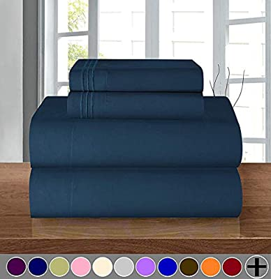 """1500 Series ULTRA SILKY SOFT LUXURY 3 pc Sheet set, Deep Pocket Up to 16"""" - Wrinkle Resistant - All Size and Colors , Twin Navy"""