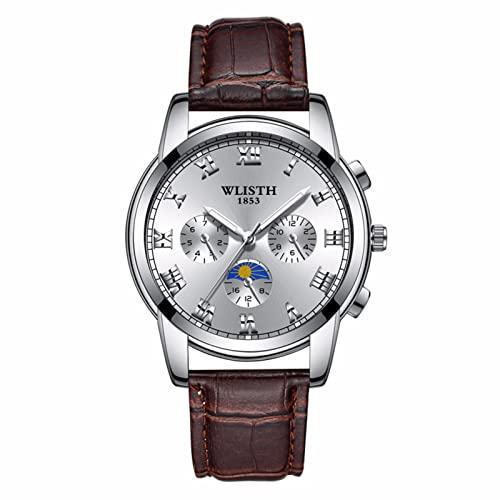 GDHJ Reloj casual de moda para hombre 3ATM impermeable de negocios movimiento de cuarzo reloj de pulsera transpirable y cómodo correa de cuero marrón tendencia cronógrafo correa de cuero marrón 2