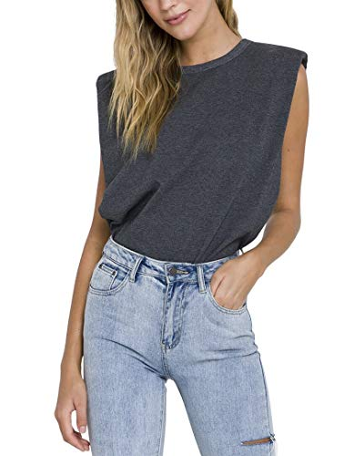 endless rose Women's Padded Shoulder T-Shirt, Grey, X-Small