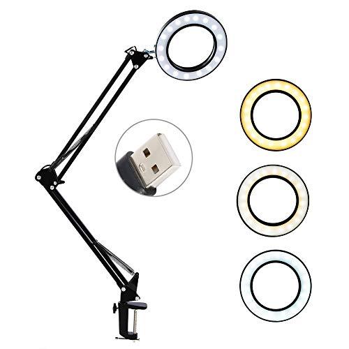 LED Lupenleuchte mit Klemme, 8X Vergrößerung Schreibtischlampe Arbeitsplatzlampe mit Schwenkarm, 3 Farbmodi, 10 Helligkeitsstufen, LED Dimmbar Klemmleuchte Lupenlampe für Lesen,Büro,Arbeit,Reparatur