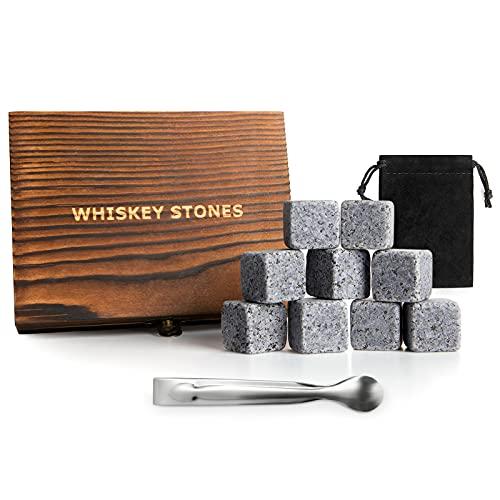 QNINE Whiskey Steine Set, 9 Stück Eiswürfel Steine, aus Granit, mit Samtbeutel, Holzbox& Edelstahl Zange, Kühlsteine Wiederverwendbar(2x2x2cm) - Geschenkset für Gin, Whiskey&Rum
