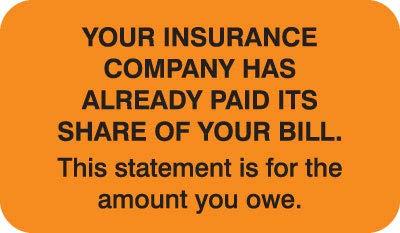 "Doctor Stuff - File Folder Chart Labels, MAP2200, Your Insurance, Medical Insurance Patient Responsibility Stickers, Fluorescent Orange/Black, 1-1/2"" x 7/8"", 250 per Box"