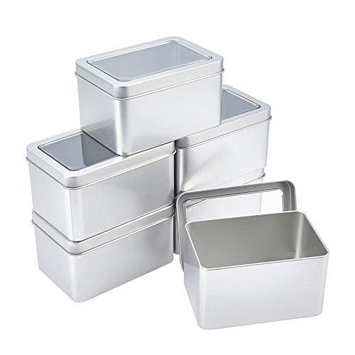 SUPERFINDINGS 6 Uds Rectangular Metal Vacío con Bisagras Latas Caja de Almacenamiento de Hojalata con Ventana Transparente para Organizador del Hogar