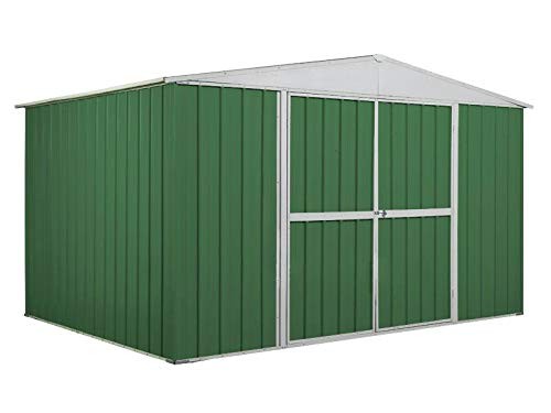 Notek Box in Acciaio Zincato Casetta da Giardino in Lamiera 3.60 x 2.60 m x h2.12 m - 130 kg – 9,1 Metri Quadri – Verde