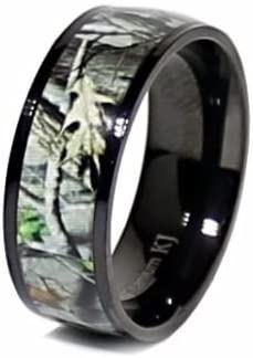 His & Hers Camo Wedding Rings Set Black Camo Pink Camo Engagement Rings