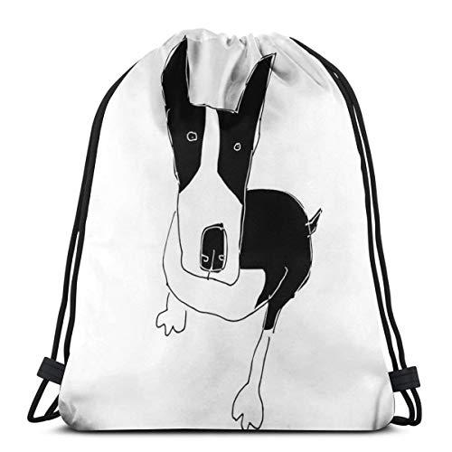 Bull Terrier Trekkoord Rugzak Trekkoord Tas Sling Bag Sporttas, Geschikt voor School Gym Trip