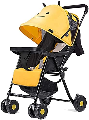 Cochecito de cochecitos Cochecito de viaje, vagón infantil portátil, con respaldo ajustable, placa de reposapiés, que incluye toldos de barandilla, ruedas de rotación de 360 grados, caminante plegab