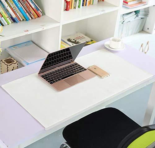 Alfombrilla de ratón ejecutiva de piel sintética con protector de borde, alfombrilla impermeable para escritorios con labio, alfombrilla de escritura antideslizante, resistente al calor, se puede cortar, blanco, 60x40cm