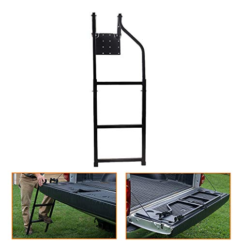 Chelhead Universal Fit Tailgate Ladder Compatible with Pickup Truck, Stainless Steel Self Drilling Hex Screws for Easy Install, Durable Aluminum Step Grip Plates, and Sturdy Rubber Ladder Feet