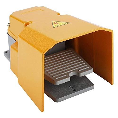 Interruttore a pedale 250V 10A, in lega di alluminio, resistente alla corrosione, interruttore on/off a pedale con protezione per macchine utensili