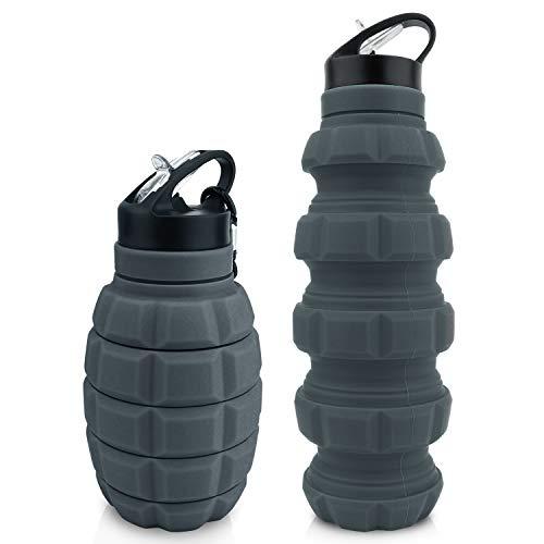 Botella de agua potable plegable de 580 ml, sin BPA, botella de agua a prueba de fugas, hecha de silicona apta para alimentos, botella deportiva para bicicletas, adecuada para niños, bebidas e
