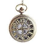 Números romanos clásicos tallados hueco reloj encanto pantalla esfera redonda collar reloj reloj regalo de joyería de los hombres