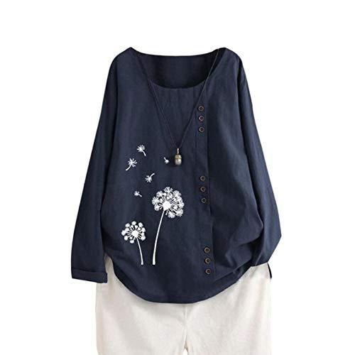 Frauen T-Shirt Langarm Baumwolle Herbstdruck Lose Rundhalsausschnitt Atmungsaktive Damen Outdoor-Aktivitäten Tops