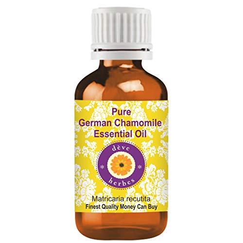 Huile essentielle de camomille pure allemande Deve Herbes (Matricaria recutita) 100% naturelle, de qualité thérapeutique, distillée à la vapeur 5ml (0,16 oz)