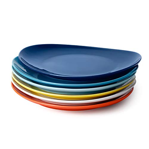 Sweese 150.002 Porcelain Dinner Plates - 11 Inch - Set of 6, Hot Assorted Colors
