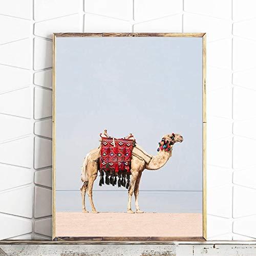 Sanzangtang woestijn dier kameel canvas kunstdruk en poster camel boho kinderkamer muurkunst schilderij schilderij schilderij Dubai Marokko moderne hoofddecoratie zonder lijst