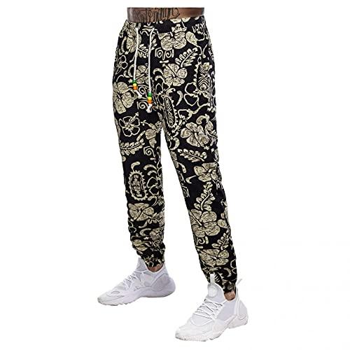 Pantalones de deporte para hombre, aspecto de lino, con impresión, informales, holgados, transpirables, elásticos, con cintura, ligeros, informales, largos, tallas grandes L-4XL, Negro2, XXL