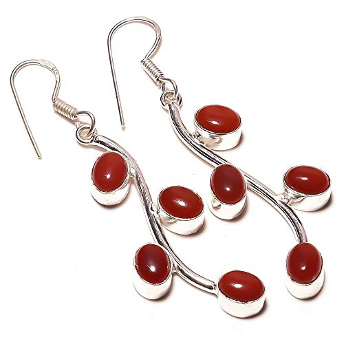 Red Onyx Handmade EARRING 2.25' Long Silver Plated! Jewelry from Kashish! All Variety Store all Occasions