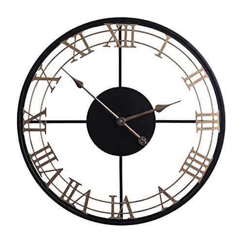 XGJJ Reloj de pared estilo europeo creativo casa sala de estar estudio escuela oficina reloj grande hierro redondo arte pared restaurante café decoración