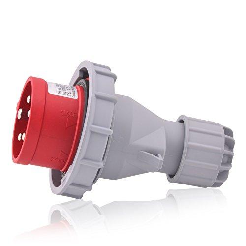 CEE Starkstrom Stecker Intratec 16A 400V 6h IP67 (spritzwassergeschützt) 5-polig (3P+N+E): IEC-60309 Industrie und Mehrphasenstecker robuste Industriequalität