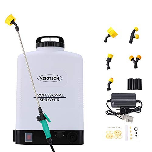 Visotech Battery Powered Backpack Sprayer, 5.3 Gallon High Pressure Sprayer 8.7psi Electric Pump Sprayer Gardening Tool with 5 Nozzle for Lawns and Gardens