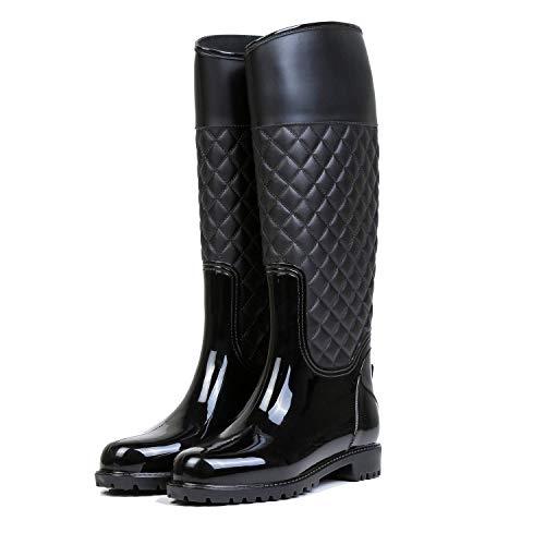 AONEGOLD Stivali di Gomma Donna Pioggia Impermeabile Alti Wellington Boot Rain Boot Giardino Stivali(Nero,37 EU)