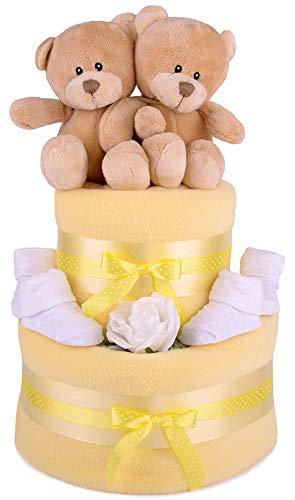Venda de a los gemelos de color amarillo doble easyworld caja de regalo para fiesta por nacimiento de pañales de diseño de pastel de - cesto rectangular grande para ropa con enganche rápido y libre a través de la entrega!
