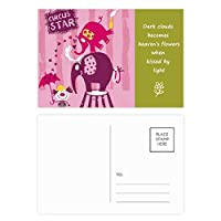 サーカスのピエロのエレファントピンクスター 詩のポストカードセットサンクスカード郵送側20個