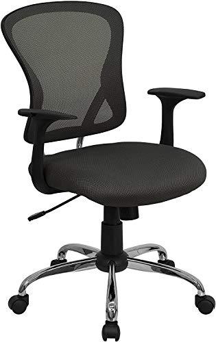 Flash Furniture Mid-Back Dark Gray Mesh Swivel Task ...