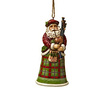"Jim Shore Heartwood Creek Scottish Santa Stone Resin Hanging Ornament 4.75"""