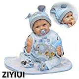 ZIYIUI Réaliste 18 Pouces 45cm Bébé Reborn Poupée Garçon Fait à la Main Silicone Souple en Vinyle Lifelike Nouveau née Bébé Reborn Doll Boy Jouets Cadeau de Noel