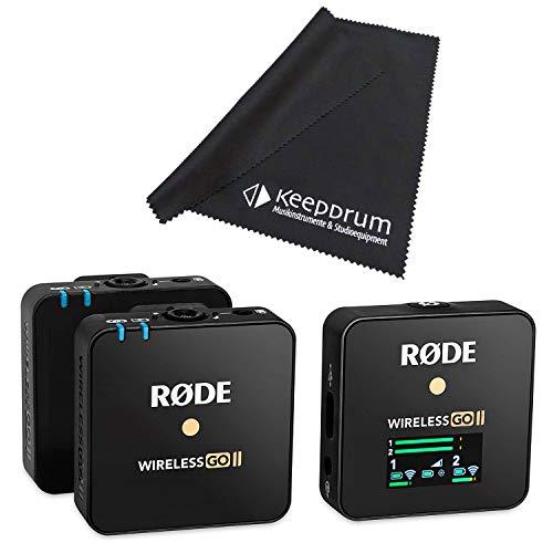 Rode Wireless GO II - Sistema de micrófono inalámbrico (2 canales, incluye gamuza de microfibra)