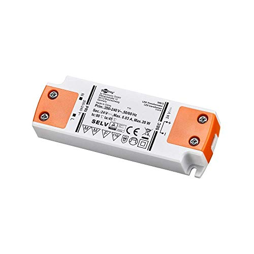 Goobay 30612 - Transformador LED 24 V DC de 0,5 hasta 20 vatios para lámparas LED, Naranja/Blanco