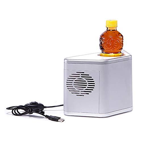 ZSSM Coke Mini-Kühlschrank Warmer und kalter Kühlschrank Car Home Kühlschrank Kühlbare Heizung Tischplatte Kühlschrank für das Auto Büro 1 Tasse Kapazität USB Auto Kühlschrank grau