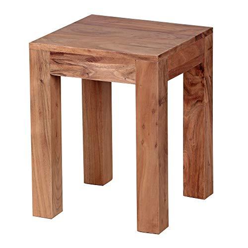 FineBuy Beistelltisch Massiv-Holz Akazie 35 x 35 cm Wohnzimmer-Tisch Design dunkel-braun Landhaus-Stil Couchtisch Natur-Produkt Wohnzimmermöbel Unikat modern Massivholzmöbel Echtholz Anstelltisch