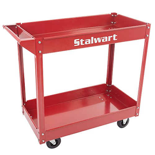Stalwart 75-MOV1003 vice Utility Cart, Heavy Duty Supply Cart with Two Storage Tray Shelves- 330 lbs Capacity By Stalwart (Red)