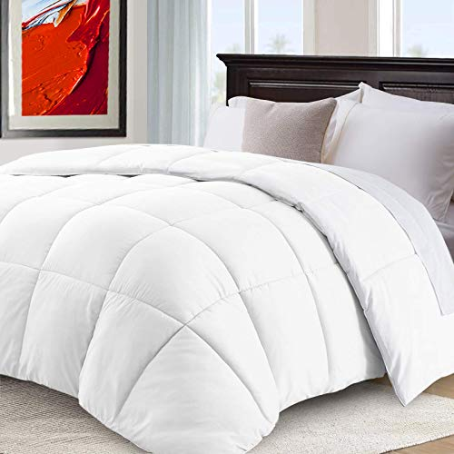 CHOPINMOON All Season Queen Comforter Cooling Quilted Down Alternative Duvet Insert with 8 Corner Tabs,Luxury,Fluffy,White, 88 x 88 inches